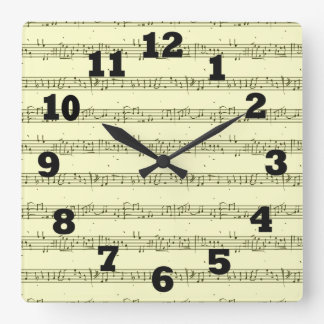 Sheet Music Square Wall Clock