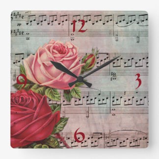 Sheet Music with Roses Wall Clock