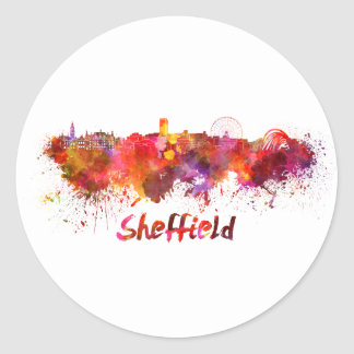 Sheffield skyline in watercolor classic round sticker