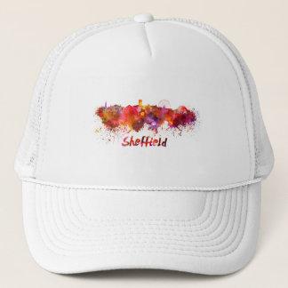 Sheffield skyline in watercolor trucker hat