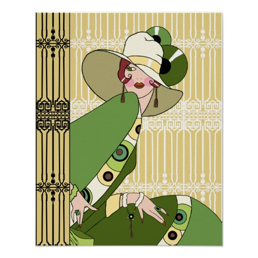 Shelby, 1920s Art Deco Lady in Yellow and Olive Print