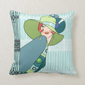 Shelby, 1920s Lady in Aqua and Teal Cushion