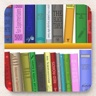 shelf books library reading coaster