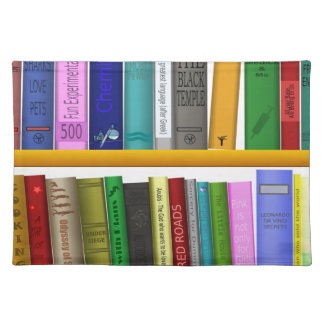 shelf books library reading placemat