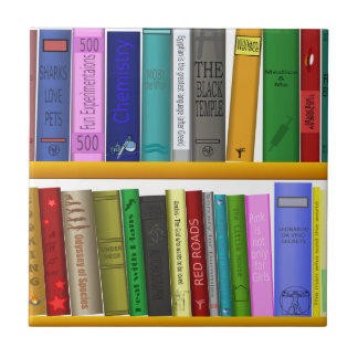 shelf books library reading tile