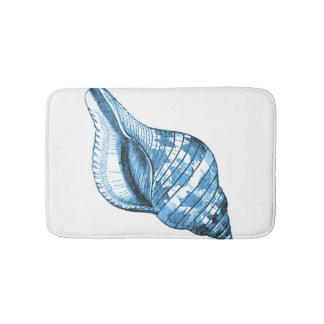 Shell beach coastal ocean blue white bath mats