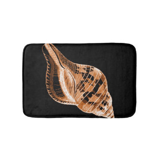 Shell coastal nautical ocean black bath mats