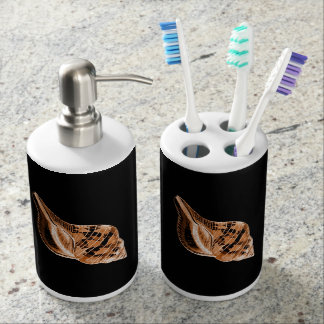Shell coastal nautical ocean sea beach black bathroom set