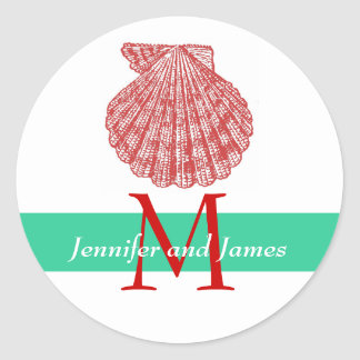 Shell Monogram Names Wedding Stickers Red Green