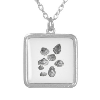 Shell sketch silver plated necklace