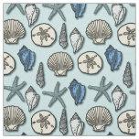 Shell Starfish Sea Nautical Pattern Pretty Blue Fabric
