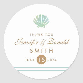 Shell Watercolor Aqua Wedding Favor Sticker