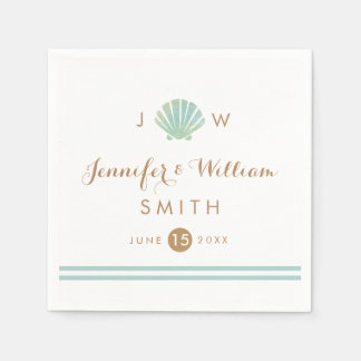 Shell Watercolor Aqua Wedding Paper Napkin