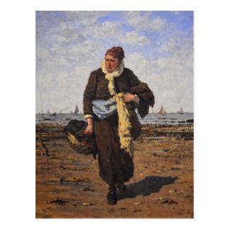 Shellfish Vendor in Honfleur by Louis A Dubourg Postcard