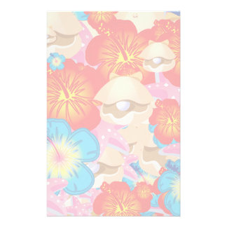 Shells and hibiscus personalised stationery