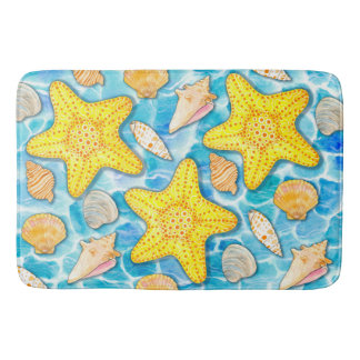 Shells and Starfish on Watercolor Ocean Background Bath Mat