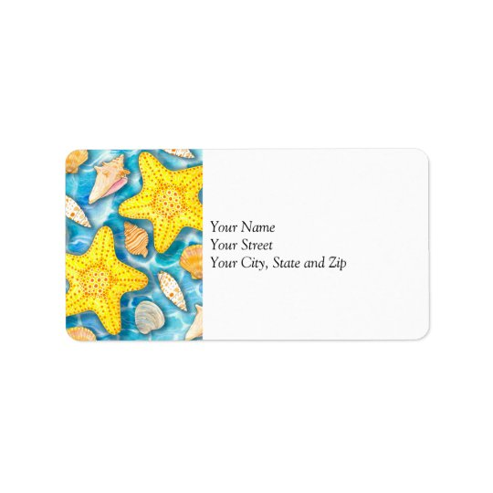 Shells and Starfish on Watercolor Ocean Background Label
