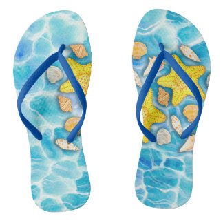 Shells and Starfish on Watercolor Ocean Background Thongs