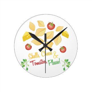 Shells Cheese Round Clock