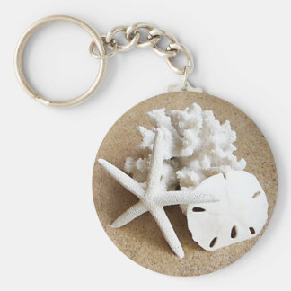 Shells in the Sand Basic Round Button Key Ring