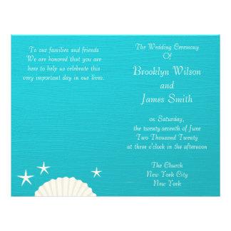 Shells On Beach Wedding Ceremony Program Flyer