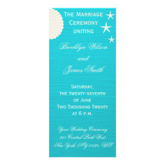 Shells On Beach Wedding Ceremony Programs Rack Card