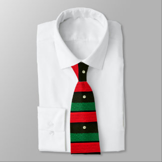 Shells on Red Black Green Crochet All Over Printed Tie