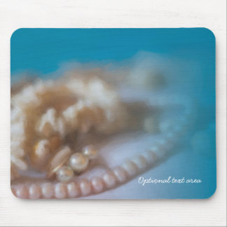 Shells & Pearls Elegant Painted Beach Mouse Pad