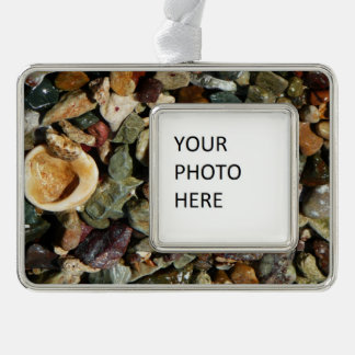 Shells, Rocks and Coral Beach Nature Theme Silver Plated Framed Ornament
