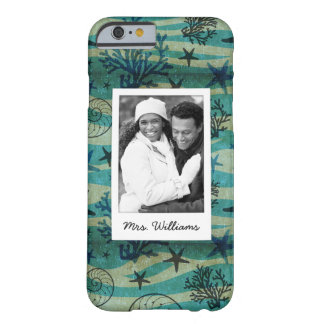 Shells & Starfish Pattern   Your Photo & Name Barely There iPhone 6 Case