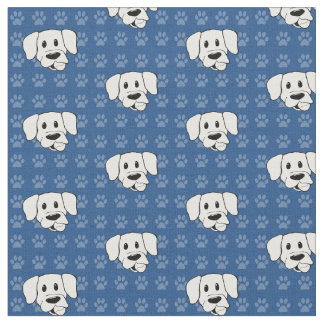 Shelter Dog cartoon labrador blue pawprints fabric