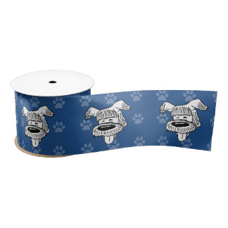 Shelter Dog cartoon sheepdog blue pawprints wide Satin Ribbon