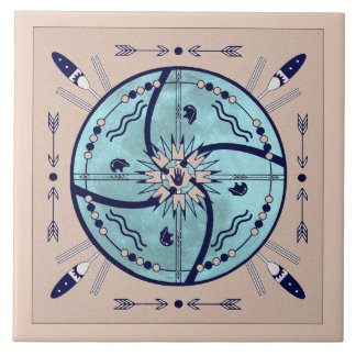 Sheltering Moon Mandala Native Symbols Tile