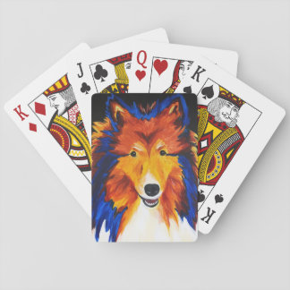 Sheltie Abstract Painting Playing Cards