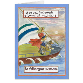 Sheltie Art  Wind at Your sails Card