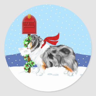 Sheltie Christmas Mail Blue Merle Classic Round Sticker