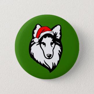 Sheltie Dog with Christmas Santa Hat 6 Cm Round Badge