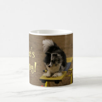 Sheltie Hanging On an Agility Teeter Coffee Mug