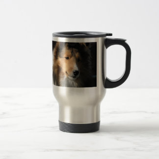 Sheltie head study on a travel mug