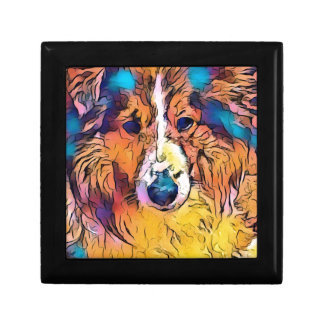 Sheltie image small square gift box