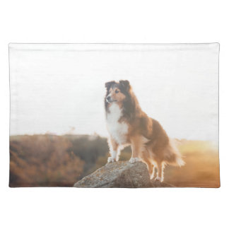 Sheltie on Cliff protecting heard during sunset Placemat