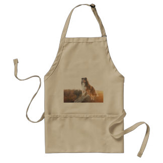 Sheltie on Cliff protectng heard during sunset Standard Apron