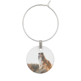 Sheltie on Cliff protectng heard during sunset Wine Charm