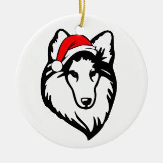 shelties Dog with Christmas Santa Hat Round Ceramic Decoration