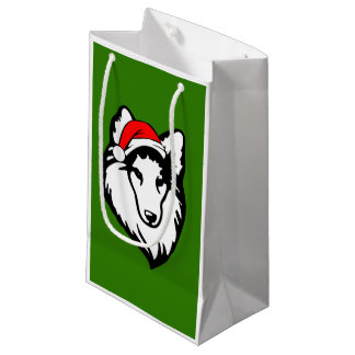 shelties Dog with Christmas Santa Hat Small Gift Bag