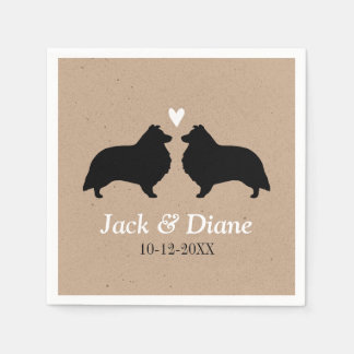 Shelties Wedding Couple with Custom Text Paper Napkin