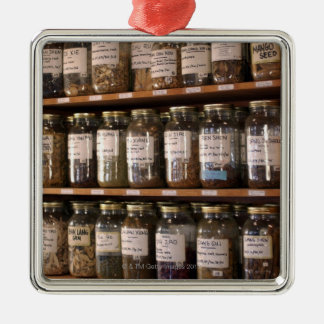 Shelves of herb jars metal ornament