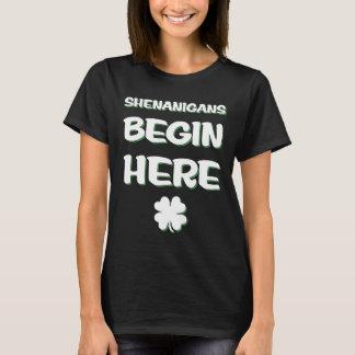 Shenanigans Begin Here St. Patrick's Day Irish T-Shirt