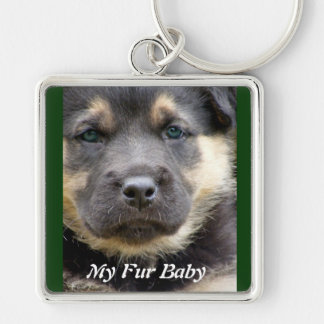 Shep Dog Silver-Colored Square Key Ring