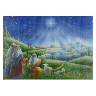 Sheperds Come to Bethlehem Glass Cutting Board